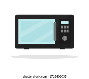 Icon of black microwave. Modern electric oven. Apparatus for for heating food or cooking. Household appliance. Colorful flat vector design. Illustration isolated on white background.