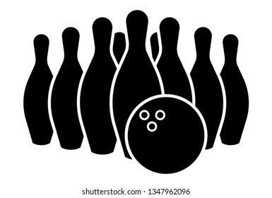icon Black silhouette Bowling Pin and ball Sport Isolated on White Background Illustration