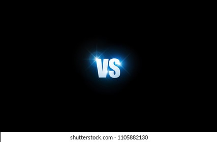 Icon blue neon versus logo vs letters for sports and fight competition. Battle and match, game concept competitive. Vector illustration