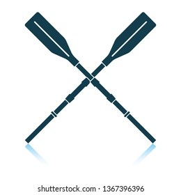 Icon of  boat oars. Shadow reflection design. Vector illustration.