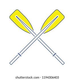 Icon of  boat oars. Thin line design. Vector illustration.