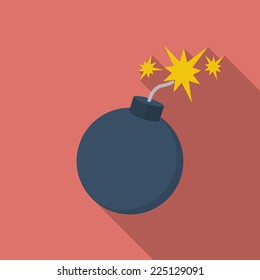 Icon of Bomb with sparkles. Flat style.