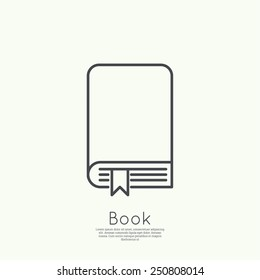 Icon book with bookmark.