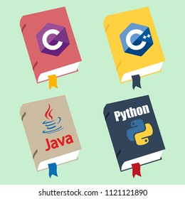 Icon of books about programming. A book on the Python, Java, C++, C# programming language.