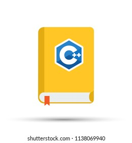 Icon of books about programming. A book on the C++ programming language. Vector stock illustration.