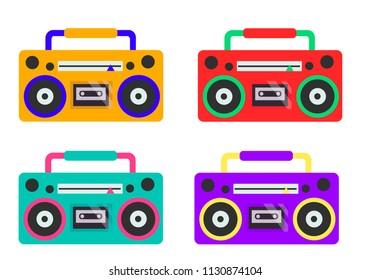 Icon Boombox Set Vector cartoon