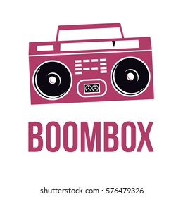 Icon Boombox. Vector isolated image of the tape recorder. The concept of street art. It can be used as prints, posters, printed materials, video, mobile applications, web sites and print projects.