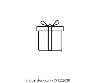 icon box gift vector web birthday happy ribbon event symbol shopping