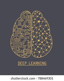 Icon brain neural networks artificial intelligence. The left hemisphere of the brain consists of microcircuits, and the right of the ligaments of the network of neurons. The inscription: Deep Learning
