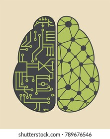 Icon brain neural networks artificial intelligence. The left hemisphere of the brain consists of microcircuits, and the right of the ligaments of the network of neurons.