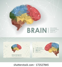 Icon brain science design element template with business card