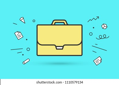 Icon of briefcase. Sign yellow briefcase on blue mint background and explosive memphis graphic element. Icon of businessman briefcase. Vector Illustration