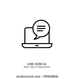 Icon bubble chat comment dialog laptop message pc graphic design single icon vector