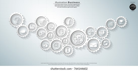 Icon  business and  Cog - Modern design Idea and Concept Vector illustration  Infographic template.