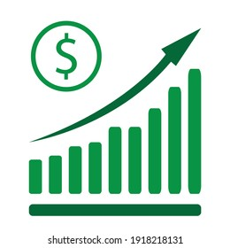 Icon for business concept. Vector illustration of dollar rate increase icon. Money symbol with stretching arrow up. Increase profit, salary, income, cost, price and economy.