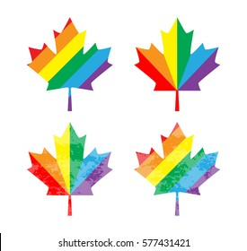 Icon Canada maple leaf. Rainbow gay and lesbian equality symbol LGBT. Vector illustration for gay-pride design, t-shirt. Unique Canadian maple leaf.
