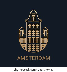 The icon of the capital of the Netherlands is Amsterdam. Luxury city pictogram.