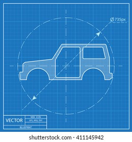 Icon car body blueprint style stock vector 411145942 shutterstock icon of car body blueprint style malvernweather Images