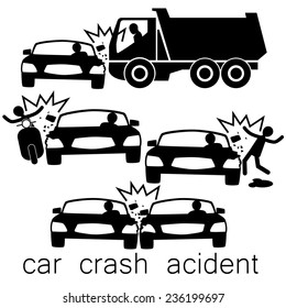 Icon for car crash acident on Side collision