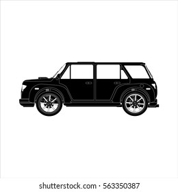 Icon car crossover black on the white background.Vector illustration.