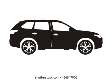 icon car suv black on the white background