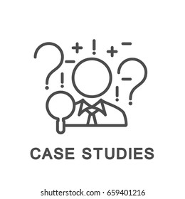 Icon case studies. Businessman uses the case method to analyze the situation and solve the problem. The thin contour lines.
