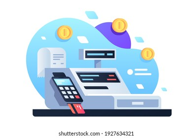 Icon of cash machine for cashier employee in store. Isolated concept modern device using electronic payment by card with check and gold coin. Vector illustration.