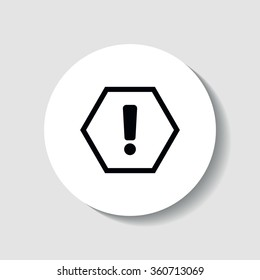Icon caution sign in the form of an exclamation mark in a hexagon.