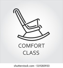 Icon of chair rocking. Comfort class concept. Simple mono black line label of high convenient service. Logo in outline style for websites, mobile apps and other design needs. Vector contour graphics