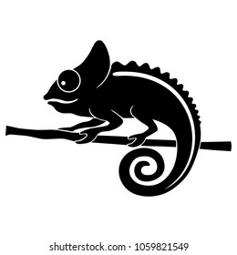 Icon chameleon. Flat symbol chameleon. Isolated black sign chameleon on white background. Vector Illustration