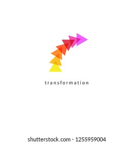 Icon change, transformation, evolution, development, transformation, coaching. Vector illustration