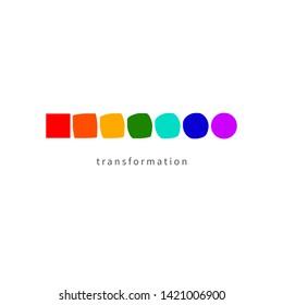 Icon change, transformation, evolution, development, coaching, color logo. Vector illustration