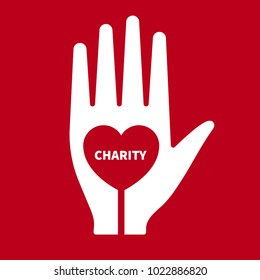 Icon charity. Hand with heart inside. Logo philanthropic action. Humanitarian assistance. Vector illustration