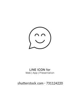 Icon Chat smiling circular speech bubble graphic design single icon vector