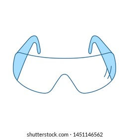 Icon Of Chemistry Protective Eyewear. Thin Line With Blue Fill Design. Vector Illustration.