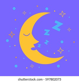Icon for children in the form of the moon that sleeps in the starry sky.