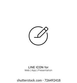 Icon Circle compose draw edit write graphic design single icon vector