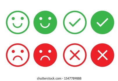 Icon circle face emotions right and wrong. Different smiley faces. The green and red check mark. Round buttons set yes and no. Vector illustration in flat design.