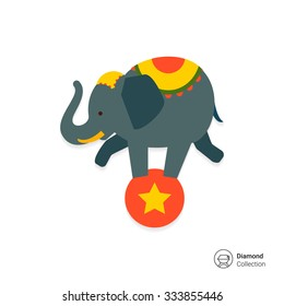 Icon of circus elephant balancing on red ball