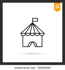 Icon of circus tent with flag on top