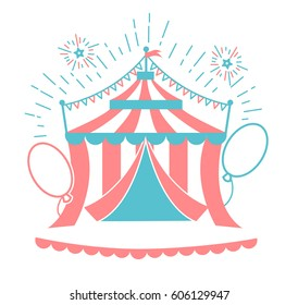Icon of the circus tent for logo. Icon in the linear style