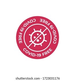 Icon for clean areas, surfaces or products of Coronavirus. Covid-19 free icon.
