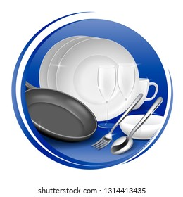 Icon of clean tableware, white dish, tableware, fork and spoon, black pan. Vector illustration.