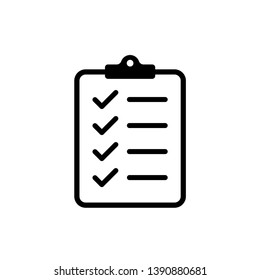 Icon clipboard checklist or document with checkmark with text in flat style. EPS 10
