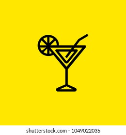 Icon of cocktail with straw. Vermouth, alcoholic beverage, lemon. Cocktail and celebration concept. Can be used for topics like party, bar, lounge.