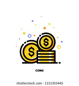 Icon of coins stack for money concept. Flat filled outline style. Pixel perfect 64x64. Editable stroke