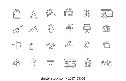 Icon collection of outdoor activities and adventures in the wild such as maps, compasses, tents and other camping equipment. Suitable for campsites, camp fires and adventures. Outline outdoor icon