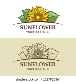 icon collection with sunflower flower isolated on white background