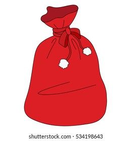 Icon color Santa s red Christmas bag on a white background