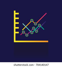 icon Colorful bar graph chart. Business illustration isolated sign symbol thin line for web, modern minimalistic flat design vector on blue background